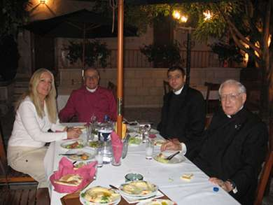 Vassula, to her left, Rt. Rev. Riah, Father Hatem Shehadeh, and Canon Samir Habiby