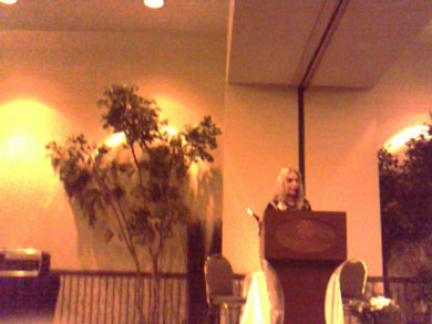 miraculous image of the Face of Jesus appears behind Vassula Ryden at meeting in Edmonton, Ontario in 2006