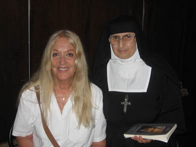 Vassula with a Consecrated Religious who was helping with the event
