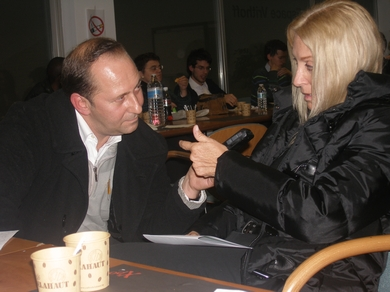 Vassula giving an interview for reporter Mr. Olivier Alberici, Editor of the L' Appel Du Ciel magazine