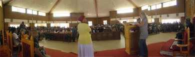Vassula speaks in the Church of Santa Monica in Lesotho, to about 4000 people