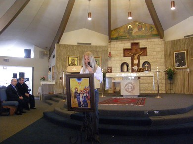 Speaking at St. Ephraim Maronite Church in San Diego after Mass