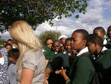 Vassula with the young students from Santa Monica Church in Lesotho