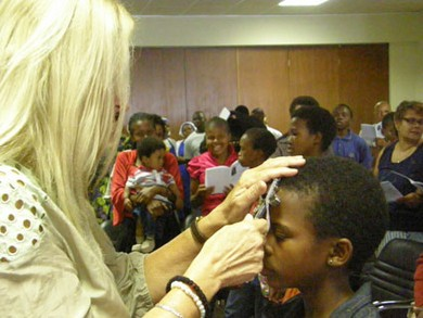 Vassula praying over the people in Swaziland