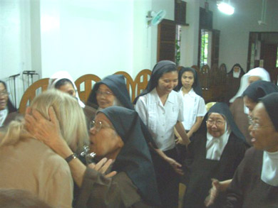 Greeting the Carmelites after Holy Mass, requesting their prayers for the conversion of the world