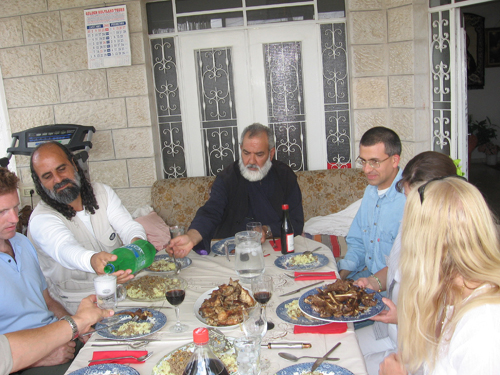 Vassula at Father Spyridon's house having lunch in Bethlehem