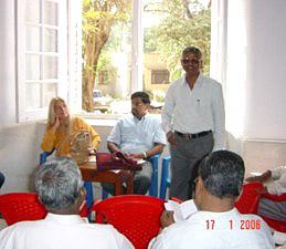 Rev. Arokiasamy presenting Vassula