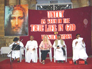 Vassula with 3 RC priests and one from CSI (Church of South India)