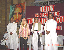 Vassula and clergy after the meeting