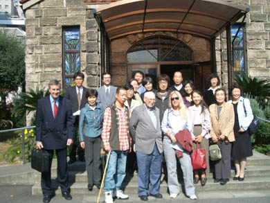 Group picture with TLIG organizers from Osaka and Tokyo, in front of Kitano Church