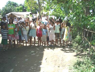 Village children welcoming Vassula