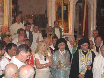 Bishops and priests with Vassula at the entrance of the Sanctuary, after the Liturgy