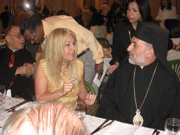 Bishop Battika with Vassula at dinner, Syria