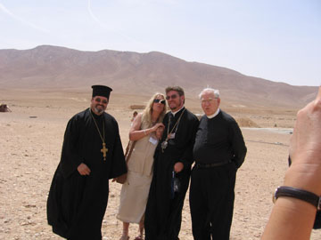 The desert region on the way to Palmyra, Fr. Michael, Vassula, Bishop Jeremias, and Fr. Habibi