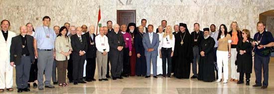 President Lahoud, center, with Vassula and group